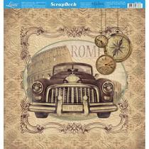 Página para Scrapbook Dupla Face Litoarte 30,5 x 30,5 cm - Modelo SD-780 Carro Antigo Vintage Roma -