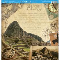 Página para Scrapbook Dupla Face Litoarte 30,5 x 30,5 cm - Modelo SD-796 Peru Vintage -