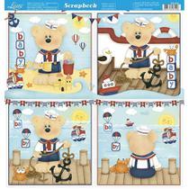 Página para Scrapbook Dupla Face Litoarte 30,5 x 30,5 cm - Modelo SD-829 Urso Marinheiro Bebê -