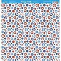 Página para Scrapbook Dupla Face Litoarte 30,5 x 30,5 cm - Modelo SD-831 Poás Vermelhos e Azuis -