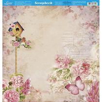 Página para Scrapbook Dupla Face Litoarte 30,5 x 30,5 cm - Modelo SD-863 Casa de Passarinho e Flores -