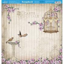 Página para Scrapbook Dupla Face Litoarte 30,5 x 30,5 cm - Modelo SD-866 Pássaros, Flores e Gaiola -