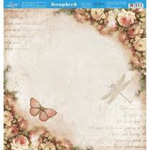 Página para Scrapbook Dupla Face Litoarte 30,5 x 30,5 cm - Modelo SD-868 Borboleta e Rosas -
