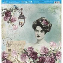 Página para Scrapbook Dupla Face Litoarte 30,5 x 30,5 cm - Modelo SD-870 Dama e Rosas Fundo Verde -