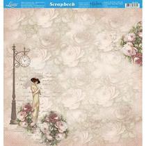 Página para Scrapbook Dupla Face Litoarte 30,5 x 30,5 cm - Modelo SD-872 Dama de Sombrinha e Rosas -