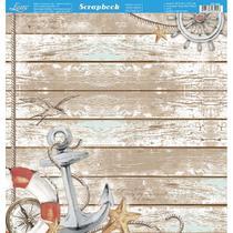 Página para Scrapbook Dupla Face Litoarte 30,5 x 30,5 cm - Modelo SD-884 Naval Âncora -
