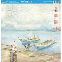 Página para Scrapbook Dupla Face Litoarte 30,5 x 30,5 cm - Modelo SD-885 Naval Gaivotas e Barcos -