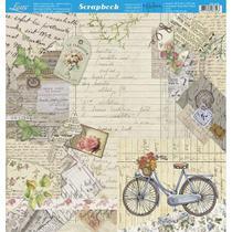 Página para Scrapbook Dupla Face Litoarte 30,5 x 30,5 cm - Modelo SD-903 Bicicleta, Flores, Vintage -