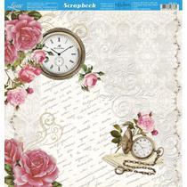 Página para Scrapbook Dupla Face Litoarte 30,5 x 30,5 cm - Modelo SD-914 Relógio Rosas Shabby Chic -