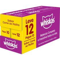 Pague 10 e Leve 12 Whiskas Sachê Carne para Gatos Adultos -