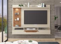 Painel A 162 cm X L 200 cm X P 34 cm 1 Porta Basculante 5 Prateleiras para Tv Ate 60 Polegadas Londres Off White/Savana - Permóbili -