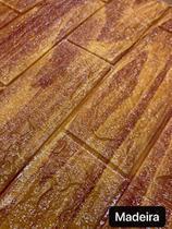 Painel Adesivo 3d Alto Relevo Revestimento 70x77cm Madeira - Vil