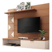 Painel Bancada Suspensa para TV até 50 Polegadas Grid Nature/Off White - HB Móveis -