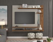 Painel com Espelho A 135 cm X L A60 cm X P 31 cm 3 Prateleiras para Tv Ate 50 Polegadas Havai Off White/Savana - Permóbili -
