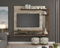 Painel com Espelho A 135 cm X L A60 cm X P 31 cm 3 Prateleiras para Tv Ate 50 Polegadas Havai Rustico/Cafe - Permóbili -
