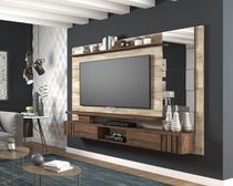 Painel com Espelhos 100% Mdf A 162 cm X L 216 cm X P 34 cm 2 Portas Basculantes 3 Prateleiras para Tv Ate 50 Polegadas Murano Rustico/Cafe - Permóbili -