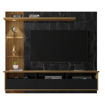 Painel com LED para TV até 60 Polegadas Trend Preto Marmorizado Ripado - Móveis Bechara -