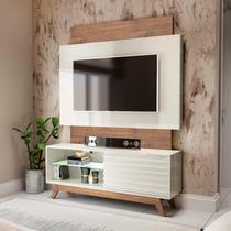 Painel Com Rack para TV 1,40m 01 Porta Correr 100% Mdf TB151 Off White/Nobre - Dalla Costa -