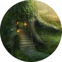 Painel de Festa Redondo em Tecido Sublimado Casa da Árvore da Floresta c/elástico - Sublime Sonhos