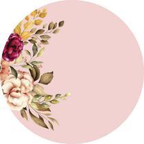 Painel de Festa Redondo em Tecido Sublimado Folhagens e Flores - Sublime Sonhos