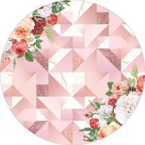 Painel de Festa Redondo em Tecido Sublimado Fundo Geométrico Rose Gold c/elástico - Sublime Sonhos