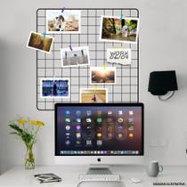 Painel De Fotos Memory Board 60x60 Preto Com Prendedores - Iguanna