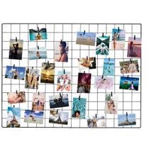 Painel De Fotos Memory Board Aramado 60x80 Preto - Iguanna