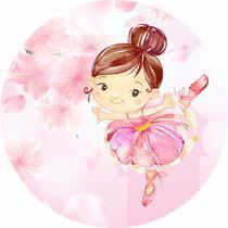 Painel de Lona Redondo Bailarina Fundo Rosa e Flores - Fabrika De Festa