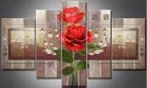 Painel De Quadro Mosaico 5 Partes Para Sala Flor,rosa,cruz - Neyrad