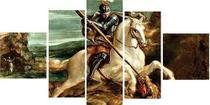 Painel De Quadro Mosaico 5 Partes Sao Jorge Para Sala - Premium Art Decoracoes
