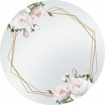 Painel de Tecido Sublimado Redondo Flores Brancas e Formas Douradas C/ Elástico - Fabrika De Festa