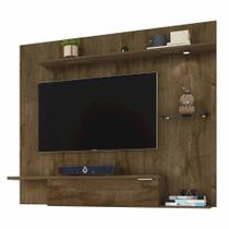 painel de tv até 55 pol com 160 cm cor marrom rústico c/ led - Bechara