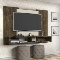 Painel de Tv de 50 Polegadas Monaco Castanho Wood OFF White  - Cambel -