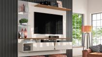 """Painel Home Suspenso Intense Para TV Até 55"""" Off White/Damasco - Lukaliam Móveis"""