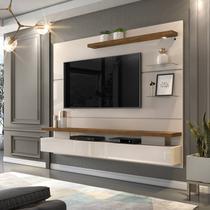 """Painel Home Suspenso para TV 65"""" c/ LED DJ Móveis Greco Off White / Demolição -"""