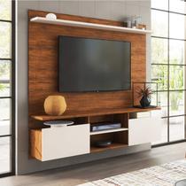Painel Home Suspenso para TV até 55 Polegadas Noel Siena Móveis Pinho/Off White -