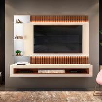 Painel Home Suspenso para TV Até 60 Polegadas Com LED Evan Creme/Caiena - DJ Móveis -