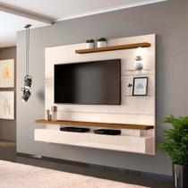 """Painel Home Suspenso para TV até 65"""" com LED Grecia Creme/Tronco Ripado - DJ Móveis -"""