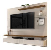 Painel Home Suspenso Para Tv até 65 Polegadas Grécia com Luminária Led e Porta Basculante Dj Móveis -