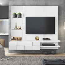 Painel Home Suspenso Turim Para Tv 50 Polegadas - Dj Móveis Branco Laca - Dj Moveis