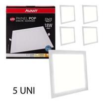 Painel led embutir 18w quadrado 6500k luz branca bivolt avant kit 05 unidades -