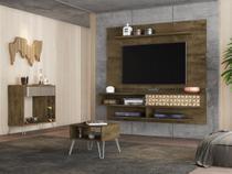 Painel Libéria com Aparador Espelhado Mesa Centro Madeira 3D - Bechara