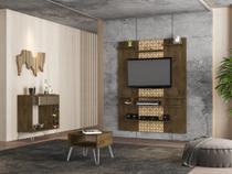 Painel Moura com Buffet Espelhado e Mesa Centro Madeira 3D - Bechara
