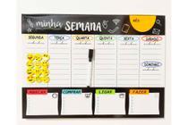 Painel Organizador Semanal 29x40 cm - Preto Com caneta e 12 imãs emoji - Onze22