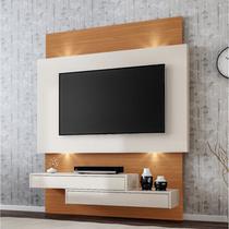 Painel para TV 1,40m Com 2 Gavetas + Led 100% Mdf TB120L Cor Off White/ Freijó - Dalla Costa -