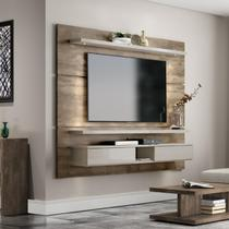Painel para TV 220cm 100 MDF com LED Tennessee Roble/Off White - Incolar