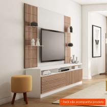 Painel para TV 42 Polegadas Veneza Branco Fosco e Carvalho Évora 200 cm - Knr móveis