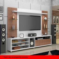Painel para TV 50 Polegadas Atenas Branco Fosco e Carvalho Évora 272 cm - Knr móveis