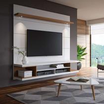 Painel para TV 60 Polegadas Axel Branco Gloss e Natural 181 cm - Mobly