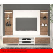 Painel para TV 60 Polegadas Veneza Branco Fosco e Carvalho Évora 200 cm - Knr móveis